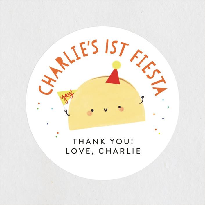 """1st Fiesta"" - Children's Birthday Party Stickers in Spicy by Itsy Belle Studio."