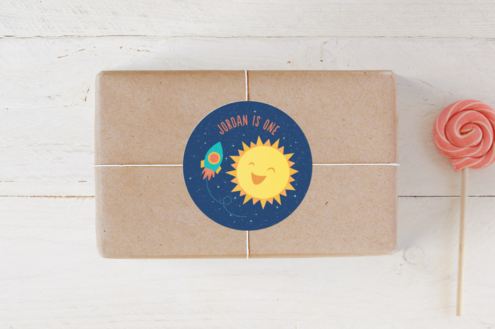 """Around The Sun"" - Children's Birthday Party Stickers in Midnight by Cat Caudillo."