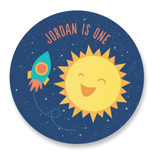 This is a blue kids sticker by Cat Caudillo called Around The Sun with standard printing on uncoated sticker paper in sticker.
