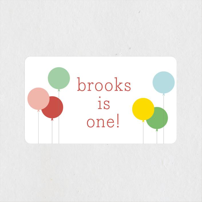"""Balloon Bunch"" - Children's Birthday Party Stickers in Strawberry by Sara Hicks Malone."