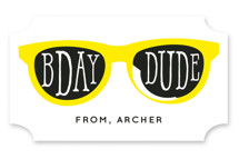 This is a yellow kids sticker by Baumbirdy called Birthday Shades with standard printing on uncoated sticker paper in sticker.