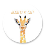 This is a yellow kids sticker by Cass Loh called Baby Animal Giraffe with standard printing on uncoated sticker paper in sticker.