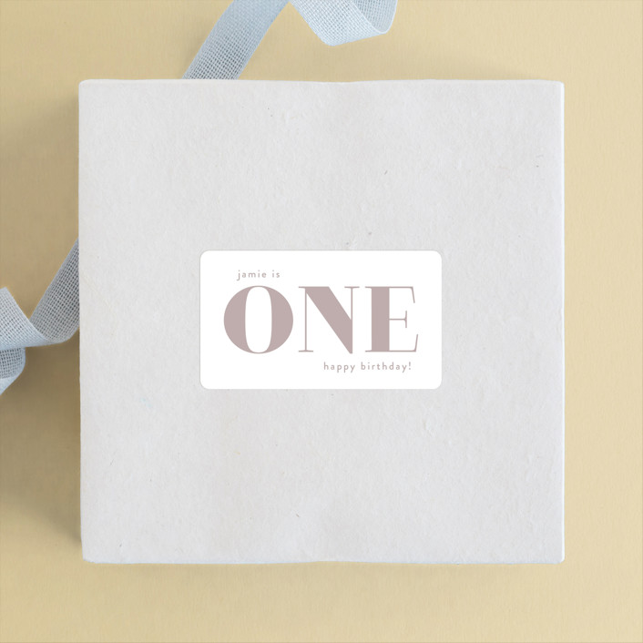 """""""i am one"""" - Children's Birthday Party Stickers in Rose by Phrosne Ras."""