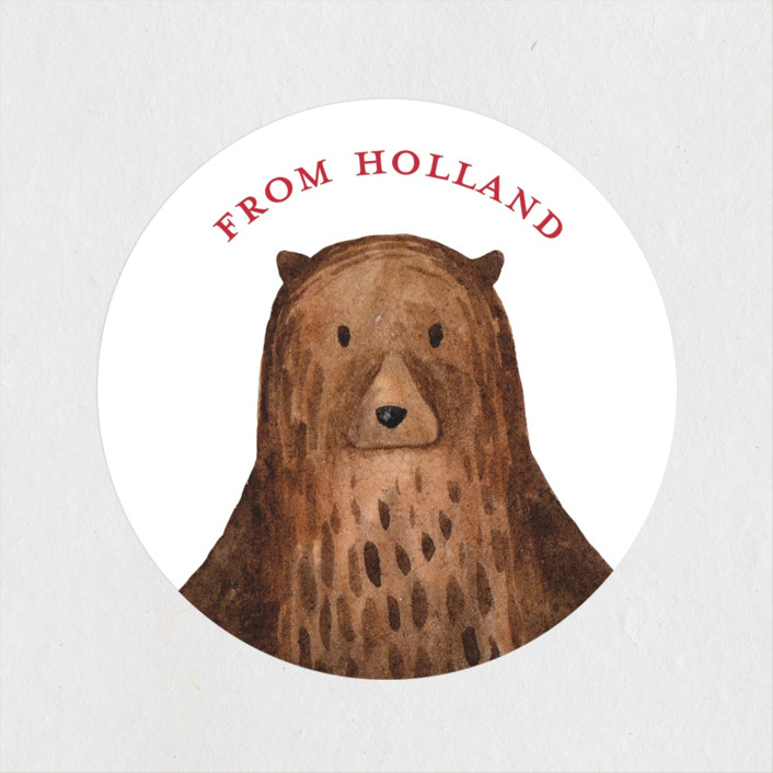 """""""Bear"""" - Children's Birthday Party Stickers in Red Candy by Remioni."""