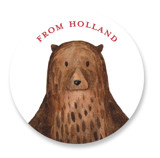 This is a brown kids sticker by Remioni called Bear with standard printing on uncoated sticker paper in sticker.
