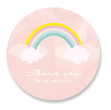 This is a pink kids sticker by Angela Thompson called Sparkly Rainbow with standard printing on uncoated sticker paper in sticker.