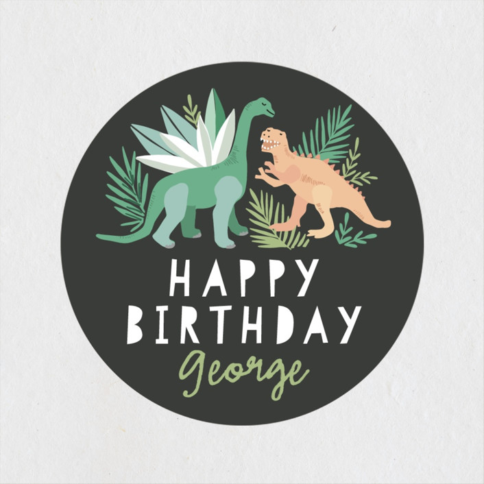 """""""Dino Friends"""" - Children's Birthday Party Stickers in Graphite by Alethea and Ruth."""