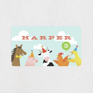 farm animal friends Children's Birthday Party Stickers