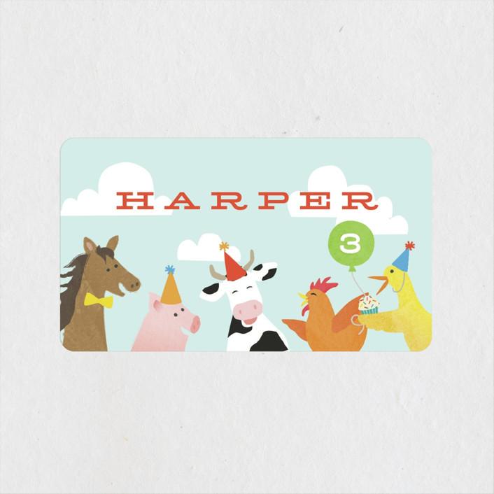 """farm animal friends"" - Children's Birthday Party Stickers in Robin's Egg by Jennifer Wick."