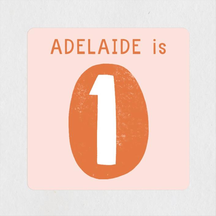 """""""Wonderful One"""" - Children's Birthday Party Stickers in Tangerine by Alicia Schultz."""