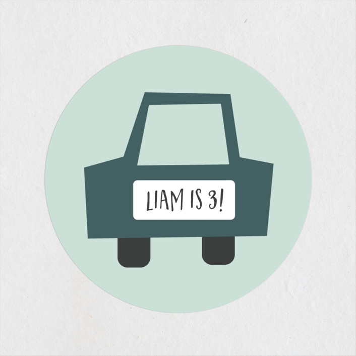 """""""Shiny Cars"""" - Children's Birthday Party Stickers in Aqua by Amy Payne."""