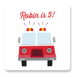 This is a red kids sticker by Anna Elder called Engine Number Five with standard printing on uncoated sticker paper in sticker.