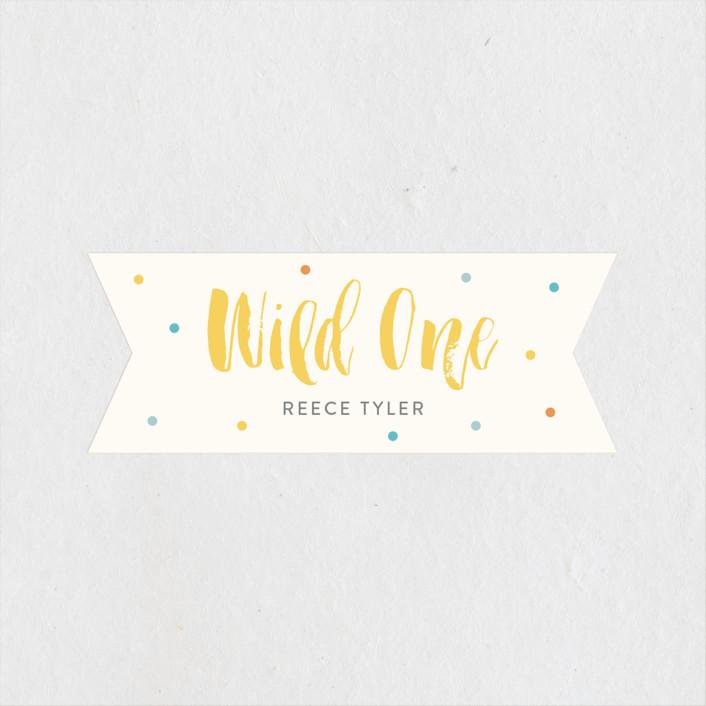 """Wild One"" - Children's Birthday Party Stickers in Dandelion by Lisa Cersovsky."