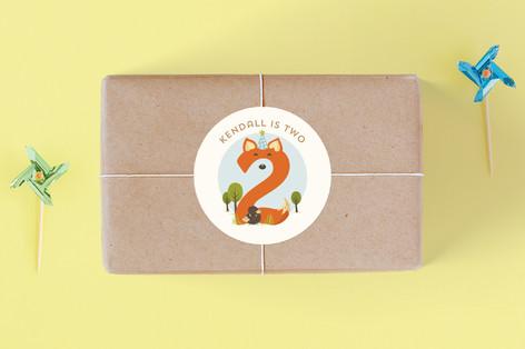 Woodland Fox Children's Birthday Party Stickers