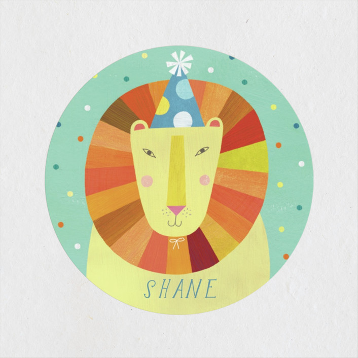 """""""Party Lion"""" - Children's Birthday Party Stickers in Mint by melanie mikecz."""