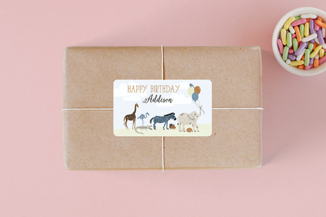 Zoo Animals Children's Birthday Party Stickers