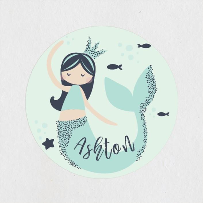 """Glitter Mermaid"" - Children's Birthday Party Stickers in Deep Sea by peetie design."