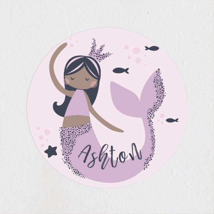 """Glitter Mermaid"" - Children's Birthday Party Stickers in Mulberry by peetie design."