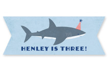 This is a blue kids sticker by Karidy Walker called Shark Tank with standard printing on uncoated sticker paper in sticker.