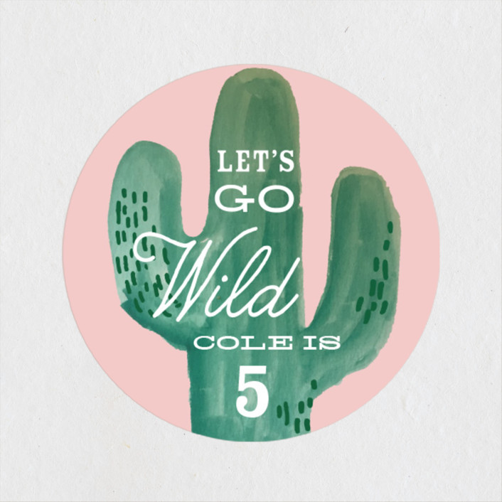 """Wild Cactus"" - Children's Birthday Party Stickers in Blush by Baumbirdy."