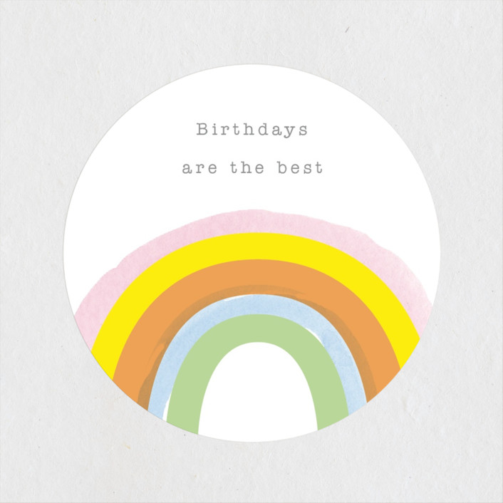 """""""Little Rainbow"""" - Children's Birthday Party Stickers in Apricot by Baumbirdy."""