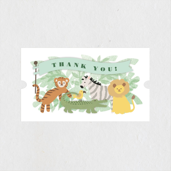 """""""Jungle One"""" - Children's Birthday Party Stickers in Jungle by Jennifer Wick."""