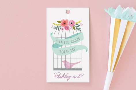 A Little Birdie Children's Birthday Party Favor Tags