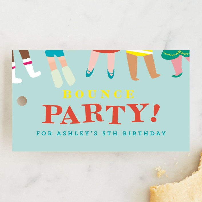 """""""Bounce"""" - Children's Birthday Party Favor Tags in Sky by Lori Wemple."""