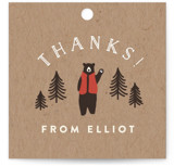 This is a brown kids gift tag by Jennifer Wick called Lumber Bears with standard printing on signature in sticker.