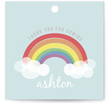 This is a colorful kids gift tag by Angela Garrick called Rainbow Celebration with standard printing on signature in sticker.
