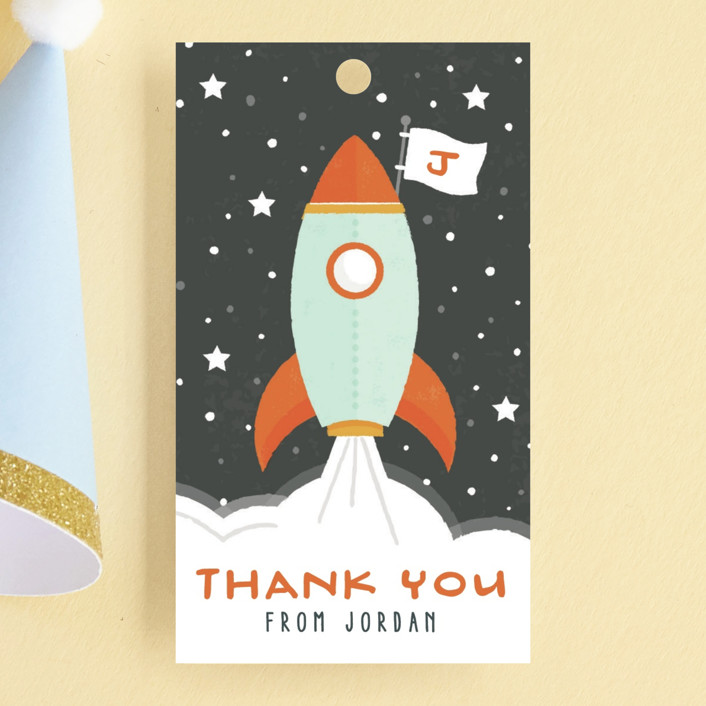 """""""Blast Off"""" - Children's Birthday Party Favor Tags in Moon by Michelle Taylor."""