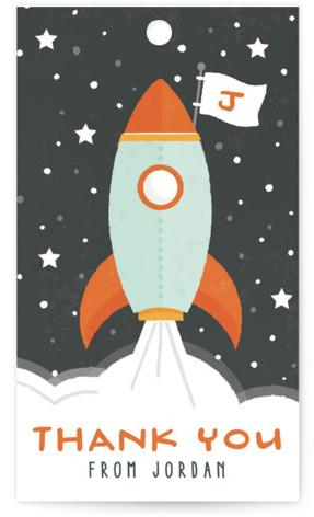 Blast Off Children's Birthday Party Favor Tags