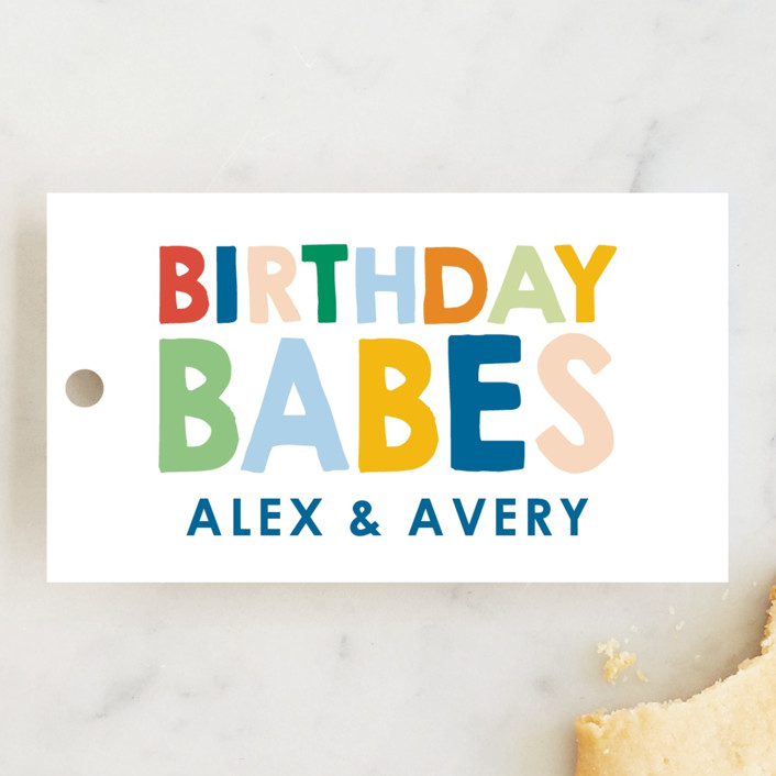 """""""These Babes"""" - Children's Birthday Party Favor Tags in Mint by Baumbirdy."""