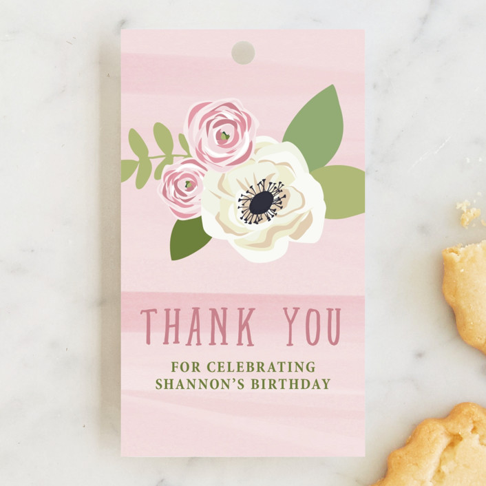 """Sophisticated One"" - Children's Birthday Party Favor Tags in Cherry Blossom by Paula Pecevich."
