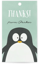 This is a green kids gift tag by peony papeterie called Penguin Party with standard printing on signature in sticker.