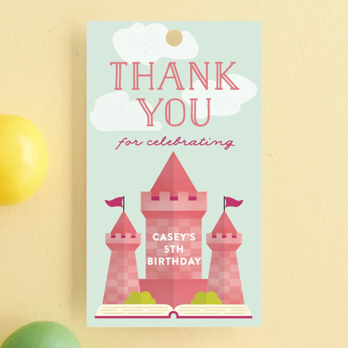 """Storybook"" - Children's Birthday Party Favor Tags in Bubblegum by Erica Krystek."