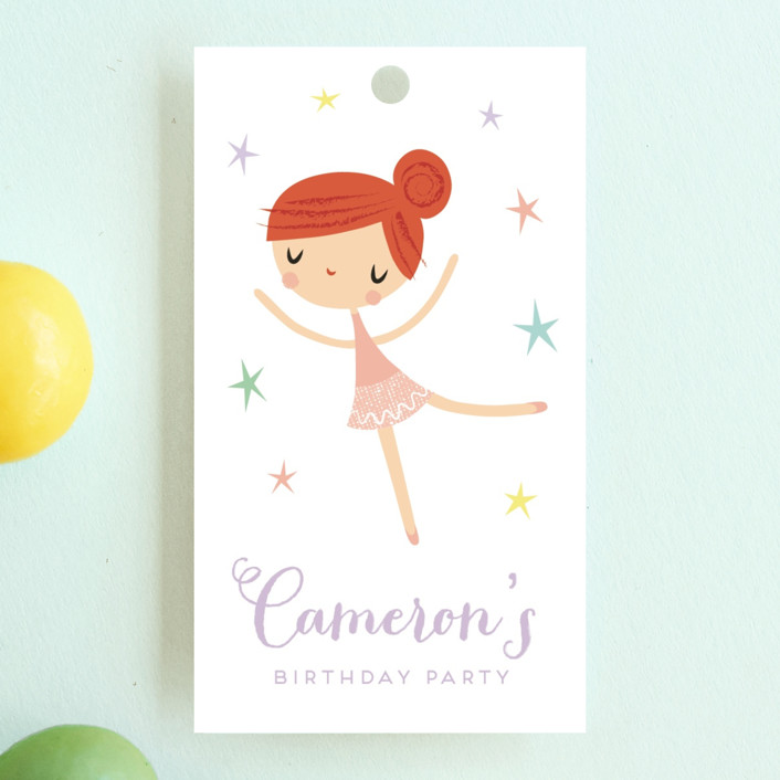 """Tiny Dancer"" - Children's Birthday Party Favor Tags in Ginger by Shannon Hays."