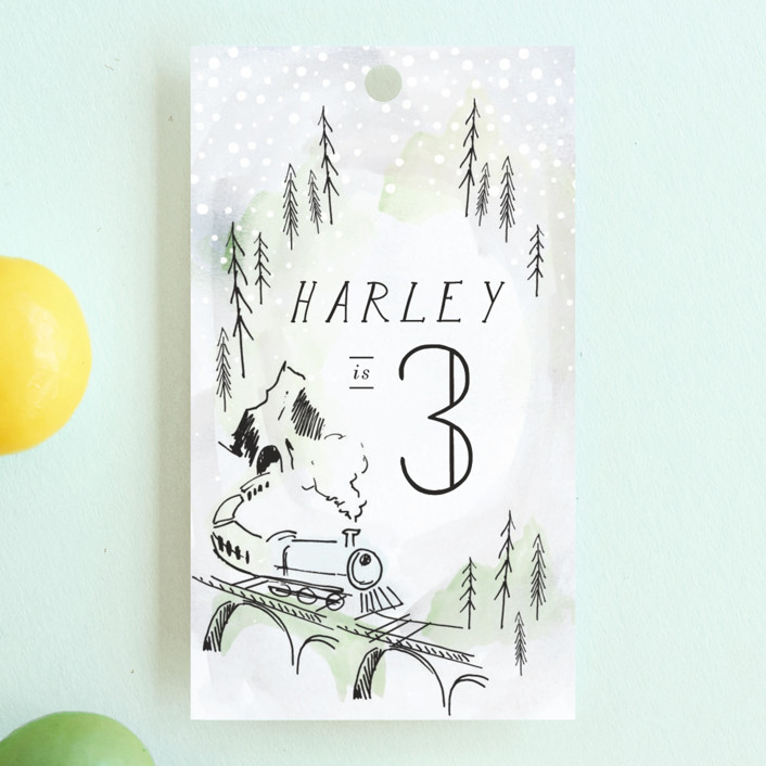 """Winter Train"" - Children's Birthday Party Favor Tags in Cinders by Baumbirdy."