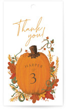 This is a orange kids gift tag by Corie Page called Pumpkin Patch with standard printing on signature in sticker.
