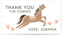 This is a beige kids gift tag by Vivian Yiwing called Carousel with standard printing on signature in sticker.