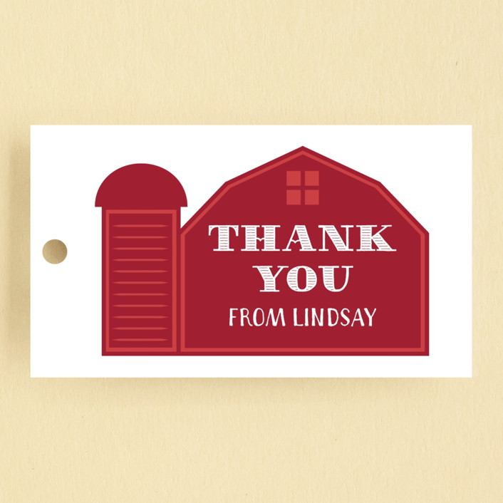 """""""Farm Party"""" - Children's Birthday Party Favor Tags in Crimson by Sarah Brown."""