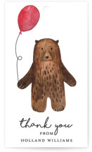 This is a brown kids gift tag by Remioni called Bear with standard printing on signature in sticker.