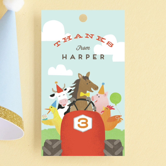 """""""farm animal friends"""" - Children's Birthday Party Favor Tags in Robin's Egg by Jennifer Wick."""