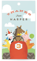 This is a blue kids gift tag by Jennifer Wick called farm animal friends with standard printing on signature in sticker.