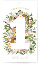 This is a pink kids gift tag by Susan Moyal called She's A Wild One with standard printing on signature in sticker.
