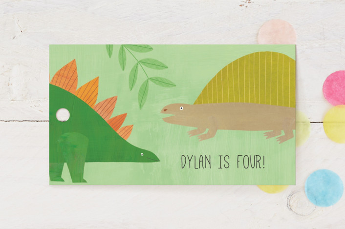 """""""Let's Roar DInosaur"""" - Children's Birthday Party Favor Tags in Forest by melanie mikecz."""