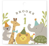 This is a green kids gift tag by Jennifer Wick called Animals on parade with standard printing on signature in sticker.