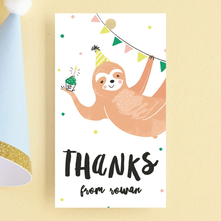 """Party Sloth"" - Children's Birthday Party Favor Tags in Emerald by Melissa Egan of Pistols."