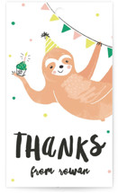 This is a green kids gift tag by Melissa Egan of Pistols called Party Sloth with standard printing on signature in sticker.