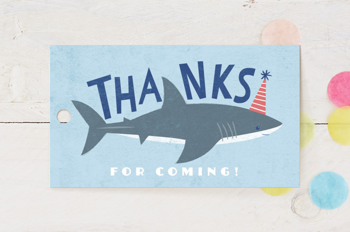 """""""Shark Tank"""" - Children's Birthday Party Favor Tags in Sky by Karidy Walker."""